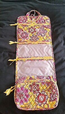 Vera Bradley Bali Gold Pink Travel Cosmetics Toiletries Bag Hanger Jewlery. NWOT