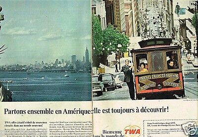E- Publicité Advertising 1967 (2 pages) Compagnie aerienne TWA Trans World