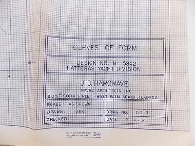 Vintage Blueprints Hatteras Yacht Boat Naval Nautical Maritime Lot of 60+ #M522