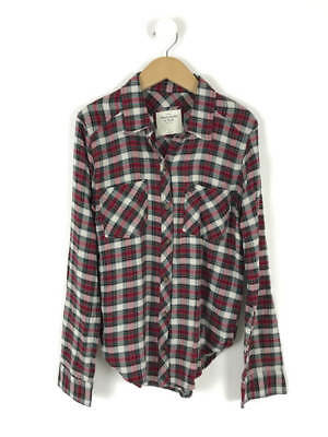 Bnwt women 39 s abercrombie and fitch black with white spots for Red and green checked shirt
