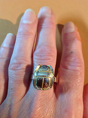 Fine Egyptian reviaval 14ct  yellow/rose gold Scarab beetle large ring
