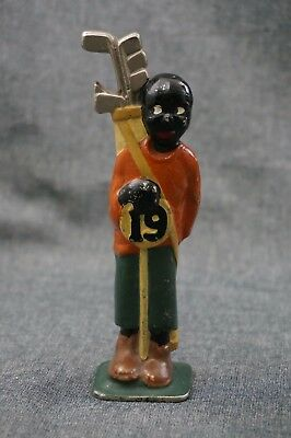 Black Americana GOLF CADDY 19th HOLE Cast Iron BEER BOTTLE OPENER Original Paint
