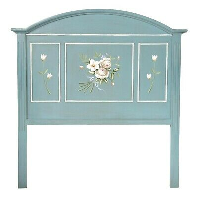 Blue French Antique Style Handpainted Double Headboard Rosasea Summer