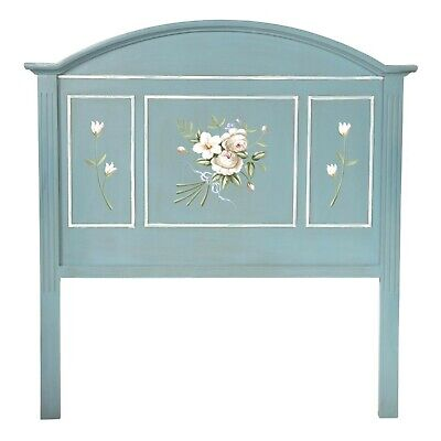 Summer Blue Bed Headboard Double Painted Antique Vintage Style Bedroom Light