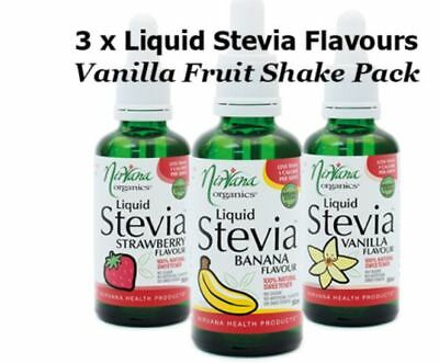 Nirvana Organics SHAKE 3 Liquid Stevia Flavours PACK banana strawberry vanilla