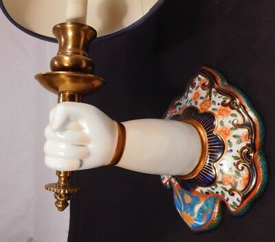 PAIR Human Hand/Arm/Torch Wall Sconces Chinese Porcelain/Brass Vintage Lamps