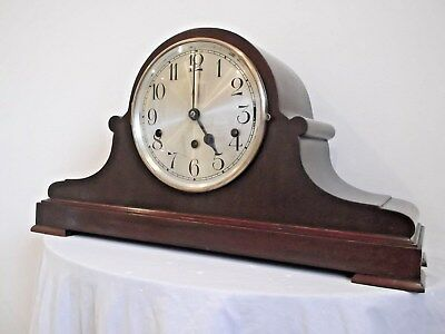 LARGE MAHOGANY FINISH GERMAN WESTMINSTER CHIME 8 DAY MANTLE CLOCK in VGC +