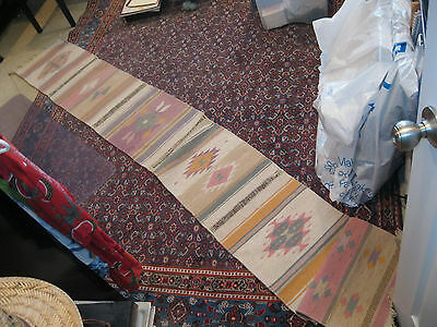 "Southwest rug table runner wool 10 ft x 15 3/4"" wall decoration native patterns"