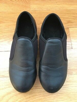 Revolution Dancewear Black Youth Slip-On Tap Shoes Boots Size 5AD Great!
