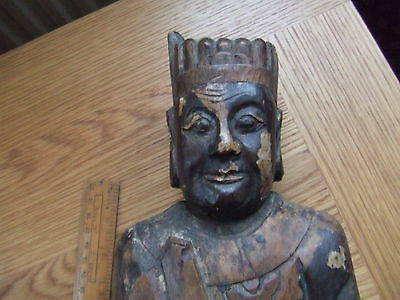 CHINA  18th CENTURY.   LARGE WOODEN CARVED FIGURE.      A SUPERB ITEM