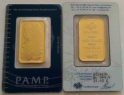 1 Troy Ounce Pamp Credit Suisse .9999 Gold Bar Lady Fortuna In Assay