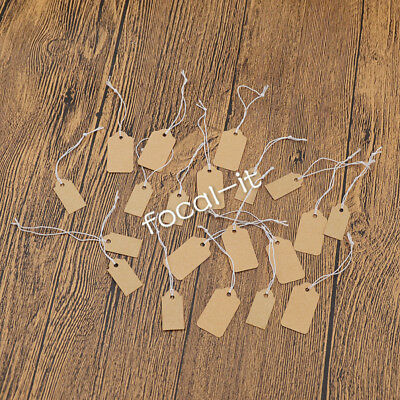 100x Brown Multisize Blank Kraft Paper Pricing String Label Tags Hangtags Decor