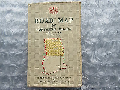 Old 1965 Road Map of Northern Ghana Africa on Linen