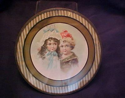 Antique Round Flue Cover Two Little Girls Metal Frame Original Chain