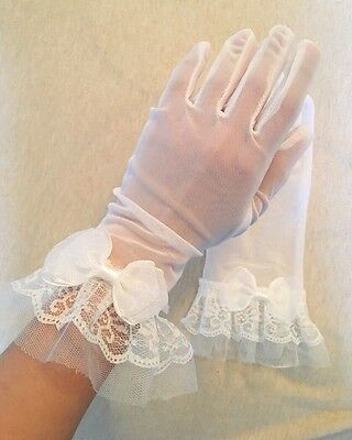 Wedding Bridal Prom White Bow Lace Sheer Gloves