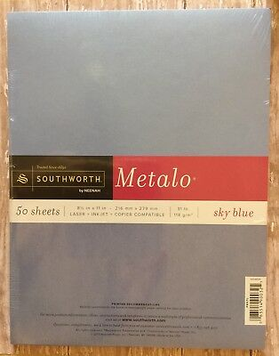 Southworth By Neenah Metalo Sky Blue Shimmer Paper 50 Sheets
