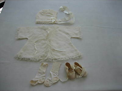 Vintage Antique Baby Baptismal / Christening Set - Jacket, Hat, Shoes, Socks