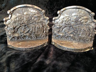 "Xi Vintage Brass Book Ends Horse Drawn Stagecoach ""Ye Olde Coaching Days"" JB 238"