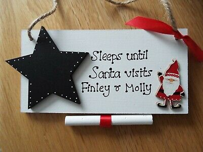 Personalised Countdown to Christmas advent sleeps until Santa visits sign plaque