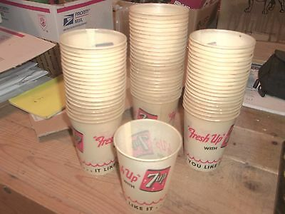 60 7up Old Vintage  Small Sample Paper Cups Unused 7 UP Soda  FREE SHIPPING
