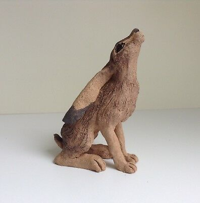 Moongazing hare sculpture. Original stoneware/pottery/ceramic art. Handmade.