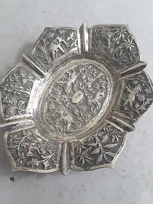 Pretty Indian Antique Solid Silver Embossed Dish.  67Gms.    C.1900.