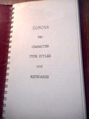 C 1940S Corona Two Character Type Specimen And Keyboard Styles Book
