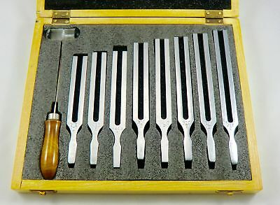 Scientific Tuning Fork Wooden Box Set With Mallet & 8 Forks, Free Ship