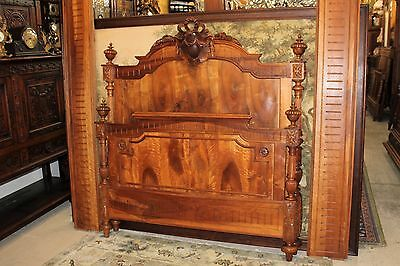 Beautiful French Antique Louis XVI Solid Walnut Full Size bed.