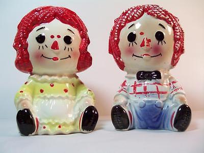 Vintage Raggedy Ann and Andy Ceramic Planters #4149 Japan