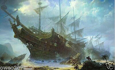 Home Decor HD print oil painting on canvas Fantasy art of sailing ship 20by30L50