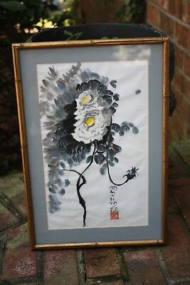 """18"""" x 11"""" Asian Signed Rice Paper Painting Framed Watercolor Pastels VTG Bamboo"""
