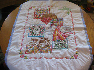 Adorable Sleeping Cat Themed Handmade Cross-Stitched Crib Quilt