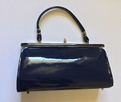 Vintage Navy Blue Patent Leather Classic Baguette Evening Tote Purse Hand Bag