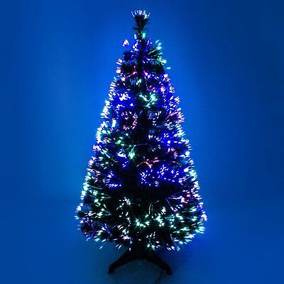 Fibre Optic Colour Changing Green Christmas Tree Xmas - 2ft 3ft 4ft 5ft 6ft 7ft