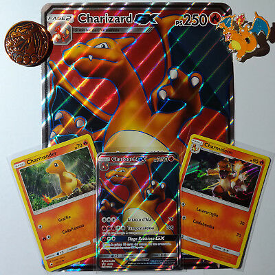 Lotto CHARIZARD GX Full Art Promo SM60 Jumbo, Regular, Moneta, Spilla ITALIANO
