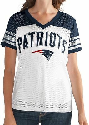 New England Patriots Women's T-Shirt Mesh Jersey NFL All American V-Neck G-III