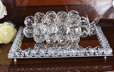 Crystal Cut Grapes Bunch Like Swarovskii & Crystal Mirror Tray Base Xmas Gift