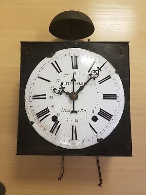 antique French comptoise / morbier  Wall Clock Enamel faced circa 1800