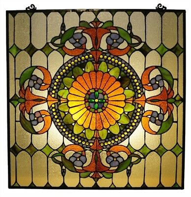 Stained Glass Victorian Design Window Panel 25 X 25 Handcrafted Bronze Finish
