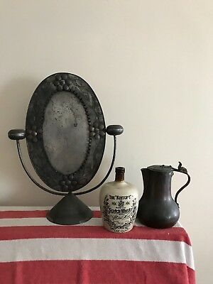 """Antique~1870's """"Anniversary-Tin"""" Crafted~ Folk-Art Swiveling-Table Mirror~Nice!!"""