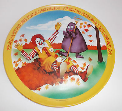 1977 McDonald's Plastic Plate Ronald Grimace Autumn Made in USA by Lexington