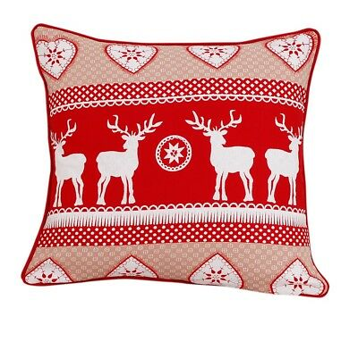 "Christmas Special 100% Cotton Cushion Covers Red Deer  Pillowcase Size 18""x18"""