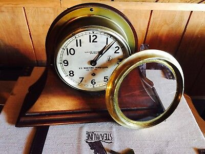 CHELSEA CLOCK  U.S. Maritime Commission vintage in Walnut base w/ Chelsea Key