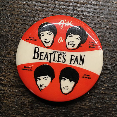"Vintage collectible Beatles Pin ""I'm a official Beatles Fan"" // 1.25"" button"