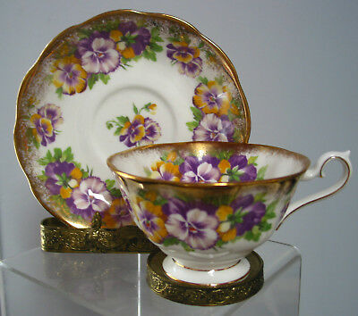 Vintage Royal Albert Cup & Saucer Yellow & Purple Pansy,England Bone China