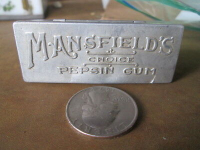 """MANSFIELD'S Choice, PEPSIN GUM"" metal box.  almost 2 1/2"" long; hinged."