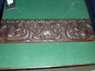 victorian / georgian architectual gothic oak carved drawer front