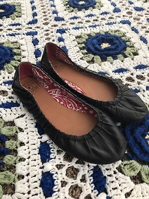 LUCKY BRAND 10 M Black Leather Ballet Flats Slip On Shoes Women's