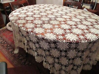 "Vintage Hand made Ivory Crochet Lace tablecloth 104 x 80"" Stunning"